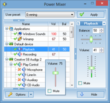 Windows audio mixer - Power Mixer